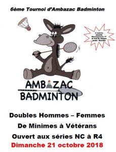 6ème Tournoi Double d'Ambazac Badminton @ Ambazac